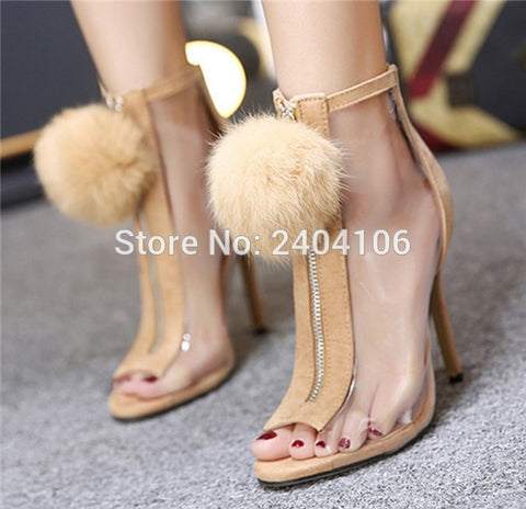 Shooegle Designer Women Pom Pom Shoes Furry Ball Summer Botines Front Zipper Transparent High Heels Peep Toe Clear Ankle Boots