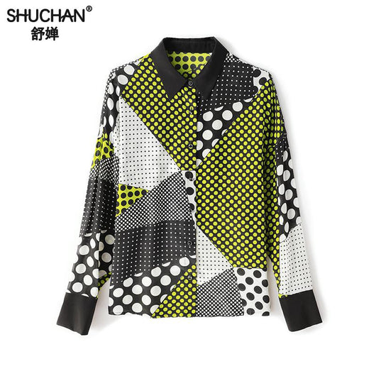 Shuchan Fashion Ol 100% Natural Silk Print Blouse Elegant Casual Long Sleeve Blouses Women Spring Modern Lady Top 2019 New Style
