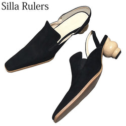 Silla Rulers Black Kid Suede High Heels Women Close Toe Strange Style Square Toe Slingbacks Women Shoes 2018 New Winter