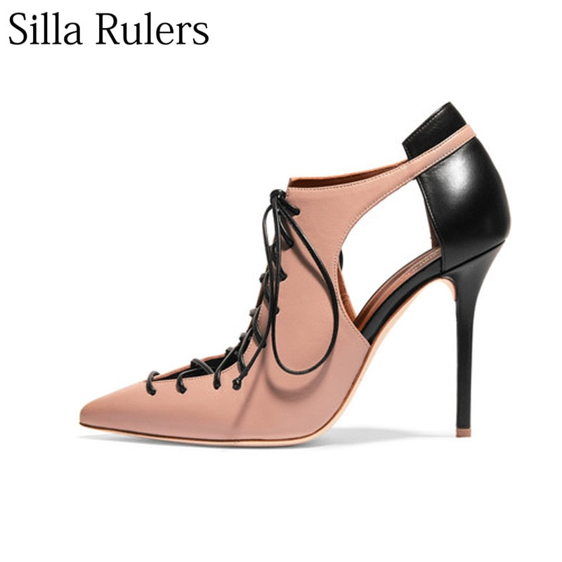 1a5e1b3ad9f Silla Rulers Sexy leather cross lace up pointed toe high heel pumps women  rome thin heel lady sandals Hollow out Single shoes