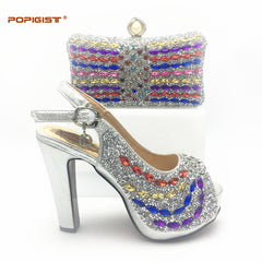 Silver 2018 Shoe and Bag Set Decorated with Rhinestone African Women Matching Italian Shoe and Bag Set for Wedding Italian Shoe