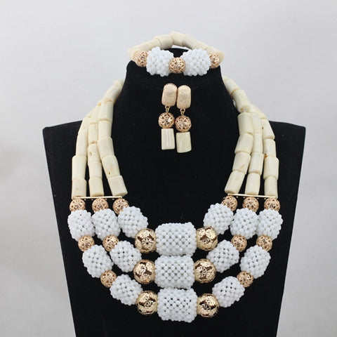 Silver 3 Layers Real Coral Beads Nigerian Jewelry Set Fabulous Big Coral Beaded Bridal Jewelry Set Charms Free ShippingABH067
