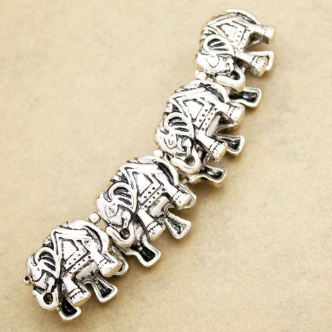 Silver Lucky Elephant African Hindu Ganesha Stretch Animal Bracelet Bangle Women Men Charms Love Cuff Indian Pulseiras Jewelry
