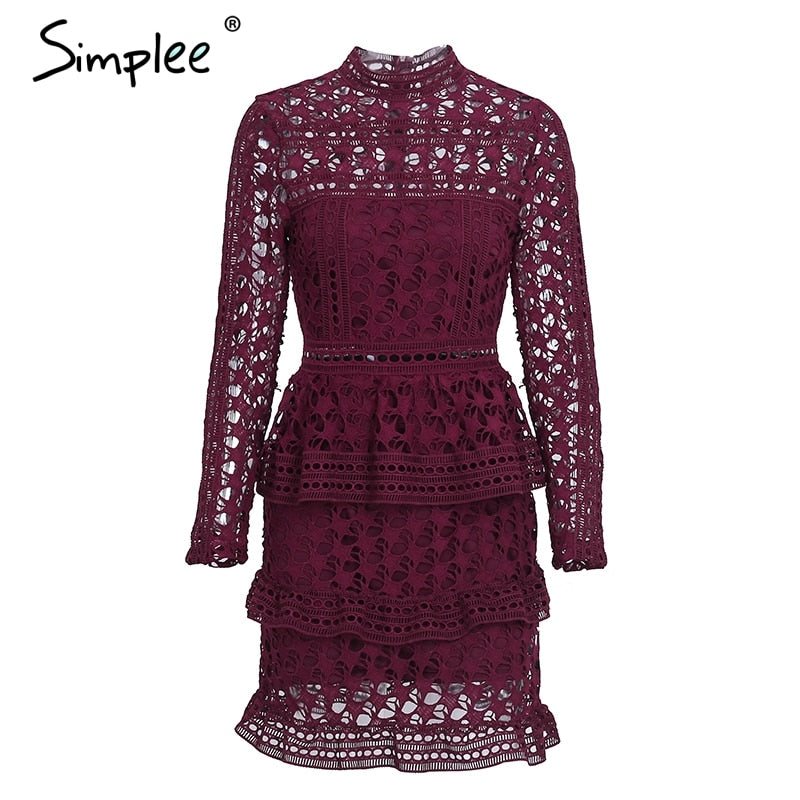 44bb8a34d135 Hover to zoom. PrevNext. Image of Simplee Elegant hollow out ruffle lace  dress Women vintage long sleeve ...