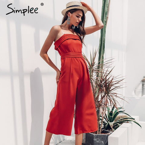 Simplee Elegant off shoulder women jumpsuit Sleeveless layer zipper overall romper Sexy causual female long summer jumpsuit