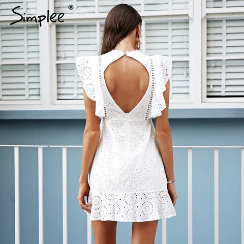3817b5b183 ... Image of Simplee Embroidery cotton white dress women Ruffle sleeve high  waist short dress 2018 Keyhole ...