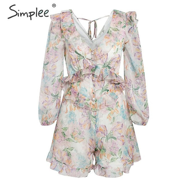 175e344e8198f Simplee Floral print women playsuit Elegant ruffled v neck long sleeve  buttons jumpsuit rompers Lining beach summer overalls