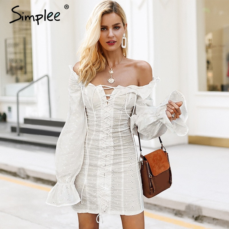 df28305a8c9d2 Hover to zoom · Simplee Off shoulder lace up sexy dress Ruffles long sleeve  women black dresses Slim bandeau female