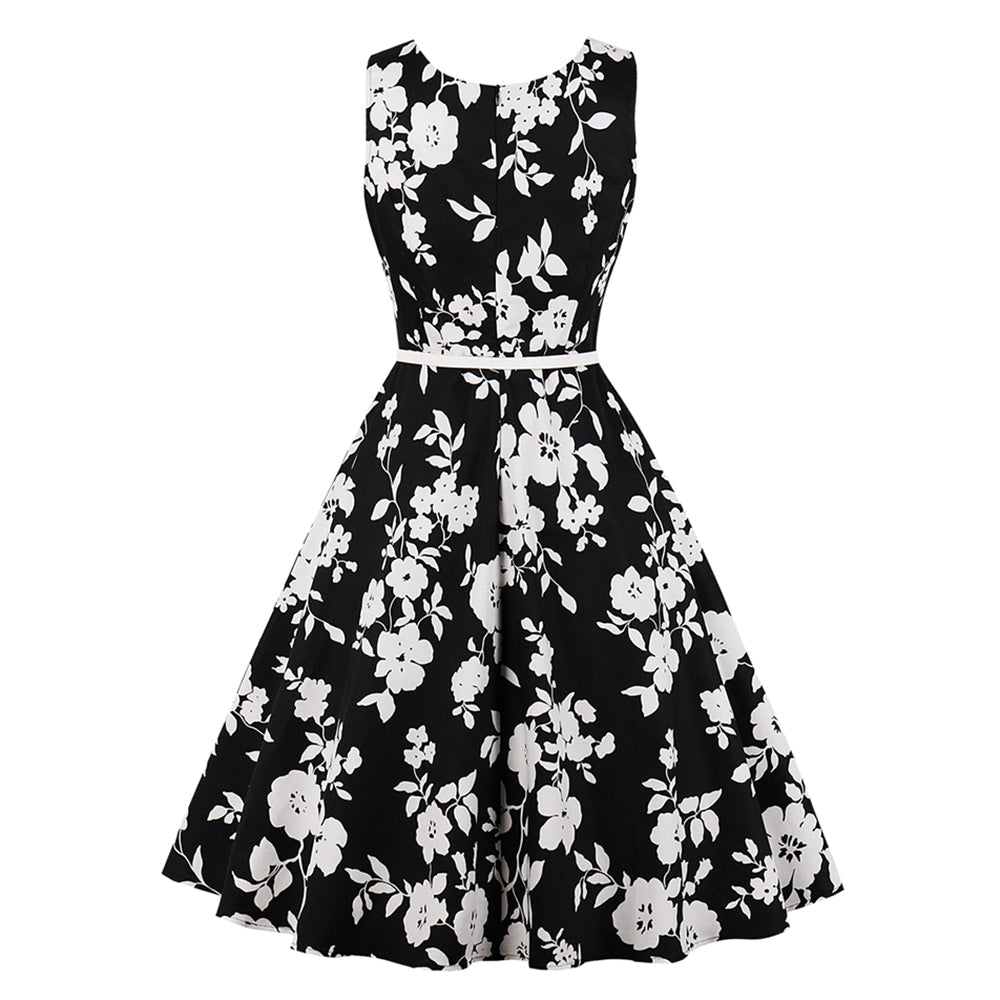 ebdd000f0610 Sisjuly Women Floral Vintage Swing Dress White Plum Flower Print Belt Zipper  O Neck Black Summer ...