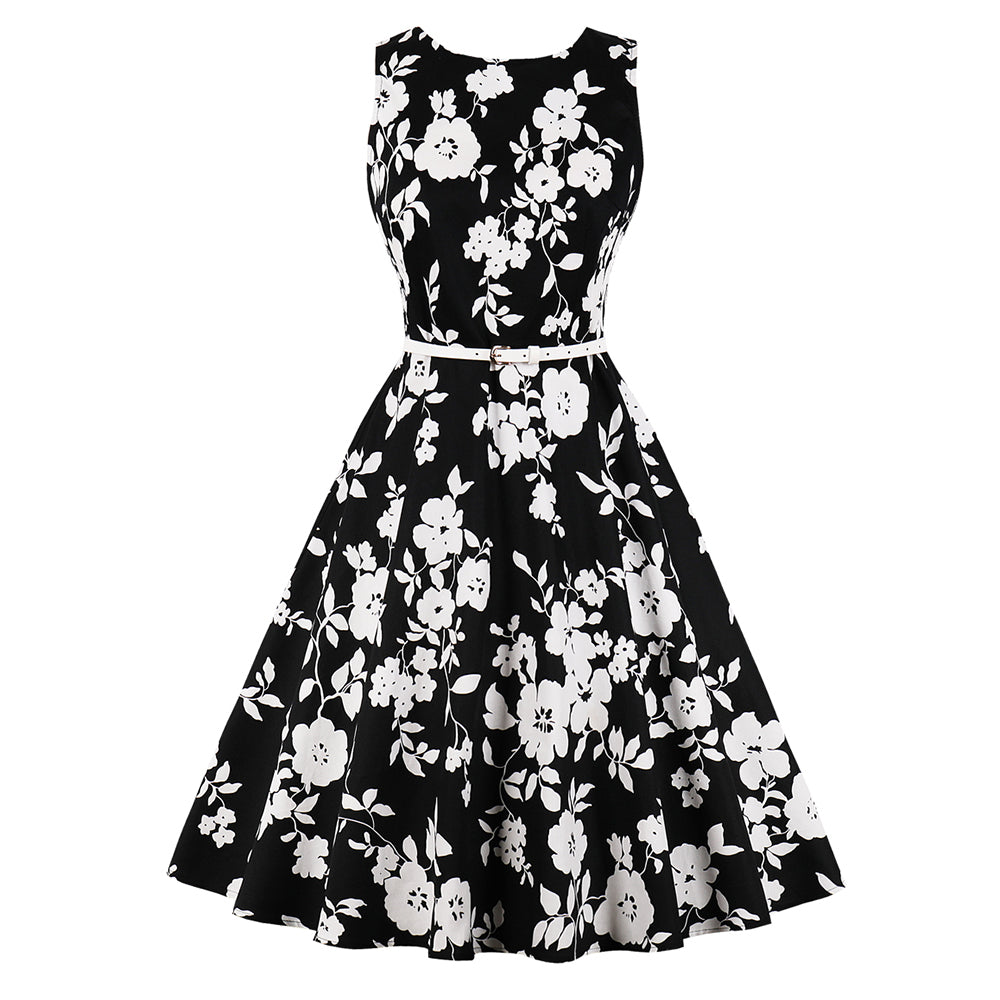 150b27035ebb ... Sisjuly Women Floral Vintage Swing Dress White Plum Flower Print Belt  Zipper O Neck Black Summer ...