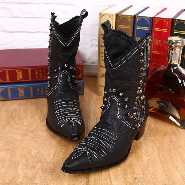 Size 38-46 Handmade Leather Boots Man Handsome Cowboy Boots Black with Rivets Pionted Toe Motorcycle Boots Man Cool Booties