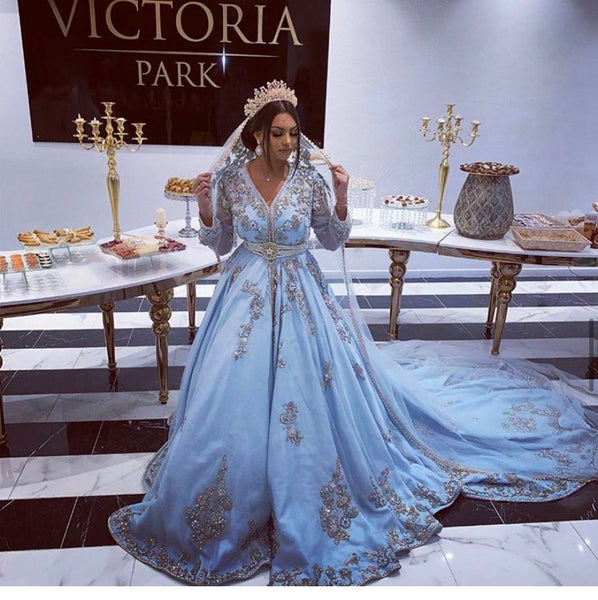 Smileven Blue Moroccan caftan Evening Dresses V Neck Appliques Mother Dress Arabic Muslim Special Occasion Dresses Party Gowns