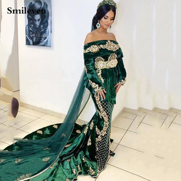 Smileven Caftan Hunter Green Mermaid Prom Dress Off The Shoulder Velvet Long Sleeve Applique Evening Gowns Formal Party Dress