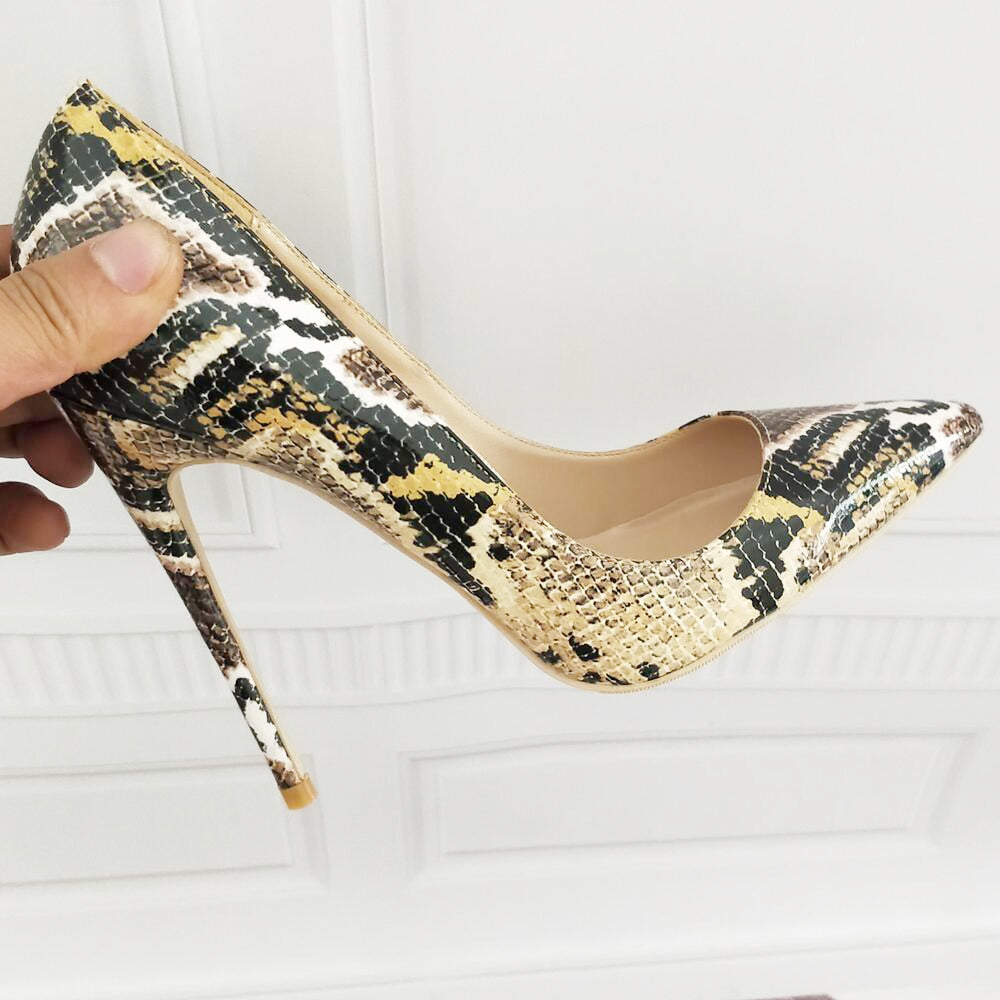 Snake Printed Sexy stilettos high heels Ladies Shoes 2018 Pointed Toe Party  Prom Women Pumps size ... 821fc9d49932