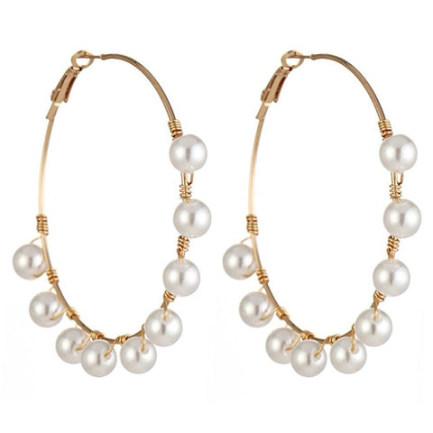 Image of Solememo 2019 New Big Circle Round Drop Earrings For Women Simulated Pearl Earring Fashion Jewelry Bijoux  Gifts Wholesale E5478