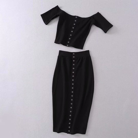 Solid Knitted Front Button 2 Piece Set Women Suit Bodycon Slim Off Shoulder Crop Top and Skirt Set Summer Outfit Two Piece Set