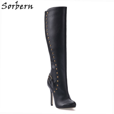 Sorbern Black Patent Leather Pointed Toe Thin High Heels Stilettos Knee High Women Boots Winter Warm Shoes Fetish High Heel 42