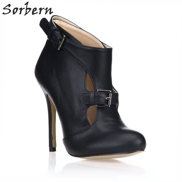 46af81713f7d Sorbern Cut-out High Heel New Ankle Boots Woman Black Patent PU Boots For.  Hover to zoom