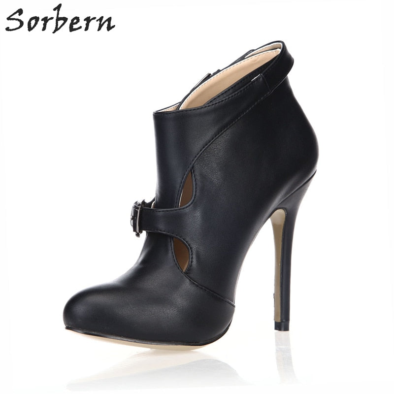 9623d33b5e Sorbern Cut-out High Heel New Ankle Boots Woman Black Patent/PU Boots For.  Hover to zoom