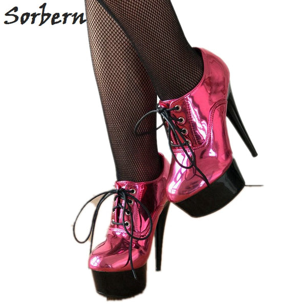 Sorbern Metallic Peach Women Pumps Lace Up High Heel Shoes Womens Platform Heel Shoes Size 12 Womens Shoes Pump Custom Color
