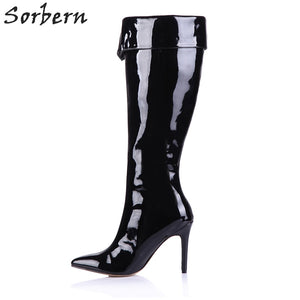 b29dd89b1003 Sorbern Patent Leather Knee High Women Boots Pointed Toe Warm Winter Shoes  Female Winter Boots Womans ...