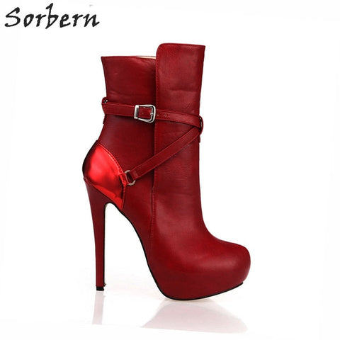 Sorbern Red 14Cm Boots Women's Footwear Ankle Boots With Buckle Custom Black Platform Boots Thick Sole Platform Woman Shoe