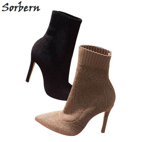 Sorbern Stretched Fabric Ankle Boots Women 9CM/7CM High Heels Pointed Toe Winter Shoes Ladies Small Size 34-39 Black/Khaki Boots