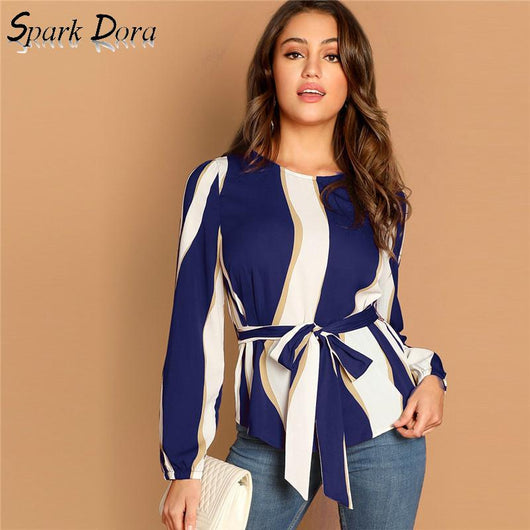 SparkDora Modern Lady Navy Self Belted Striped Scoop Neck Shirt Pullovers Top Women Streetwear Autumn Minimalist Elegant Blouse
