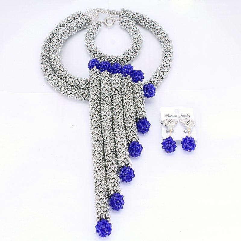 141dec0eb8fc4 Sparking Dubai Jewelry Sets Silver African Jewelry Set Nigerian Wedding  Beads Set 2018 Earrings and Necklace Bracelet Free Ship