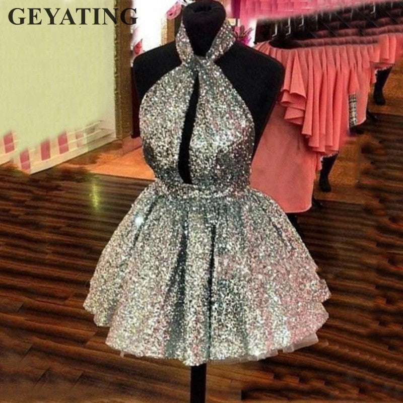 8387bee31ea12 Sparkle Silver Sequin Mini Cocktail Dress 2019 Sexy Halter Backless Short  Party Dresses Cheap Semi Formal Gowns Homecoming Dress