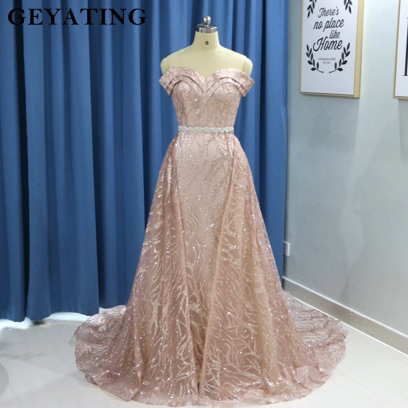 b78e52500f Sparkly Rose Gold Long Sleeves Mermaid Evening Dress with Detachable Train  Dubai Kaftan Moroccan Arabic Prom Formal Dresses 2019