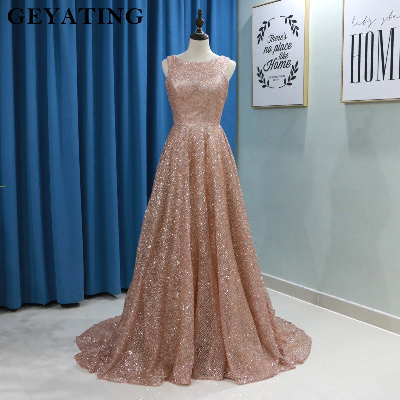 Sparkly Rose Gold Sequins Women Evening Gowns 2019 Long Plus Size Elegant  Formal Dress A,line Long Arabic Prom Dresses in Dubai
