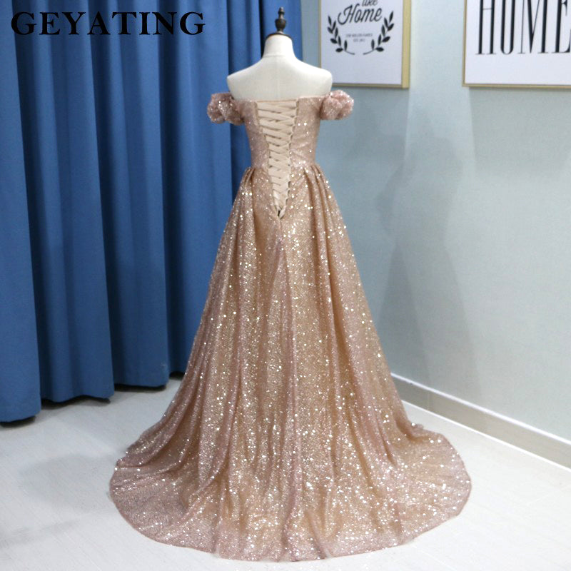 Sparkly Rose Gold Sequins Yousef Aljasmi Evening Dresses Dubai Saudi Arabia  Prom Dress with Sleeves 2018 Long Formal Party Gowns 1