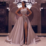 Sparkly Sequined One Shoulder Prom Dresses Luxury High Side Split Evening Gown With Detachable Train Long Formal Party Dress