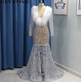 Sparkly Sequins Silver Feather Prom Dresses Plus Size V-Neck Long Sleeves  African Women Formal Dress Illusion Beaded Party Gowns
