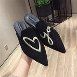 Sping Designer Luxury Embroidered Flats Mules Lady Slippers Slip On Pointed Toe Women Mules Outdoor Slipper Shoes Woman Slides