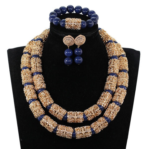 Splendid Navy Blue Nigerian Beaded Women Costume Jewelry Sets Dubai Gold Chunky Statement Necklace Set 2019 WE240