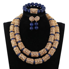 Image of Splendid Navy Blue Nigerian Beaded Women Costume Jewelry Sets Dubai Gold Chunky Statement Necklace Set 2019 WE240