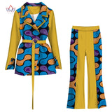 Spring African Suit for Women Print 2 Piece of Top and Pant Sets Fashion Women African Clothes Trench Coat Trouser Set WY5926