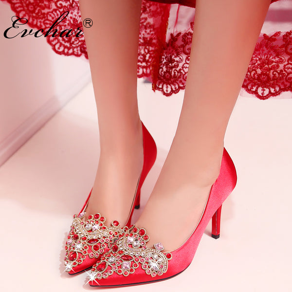 Spring Autumn Chinese style red women wedding shoes sexy Pointed Toe embroidery Slip-On Shallow high heels pumps size 33-40