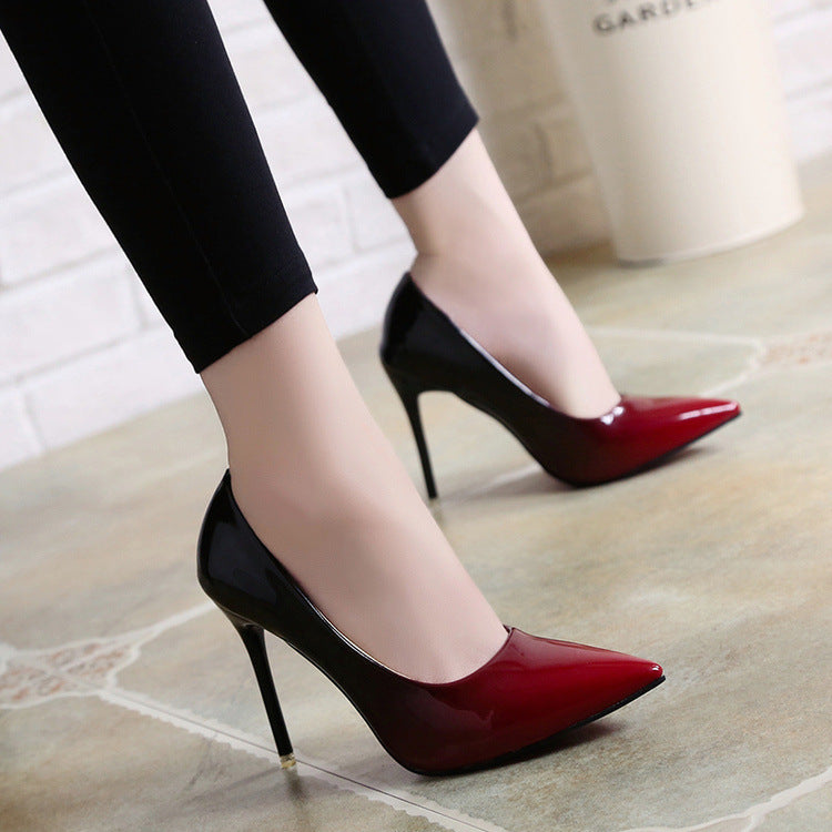 Spring Autumn High Heels Shoes Woman Elegant Thin High Heels Pointed Toe  Gradient Color Women Pumps ... 67bd9d7758a9