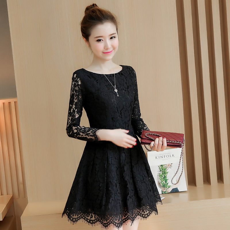 04169bf52514 Spring Autumn Lace Dress 2018 New Korean Fashion Mini Vestidos Women