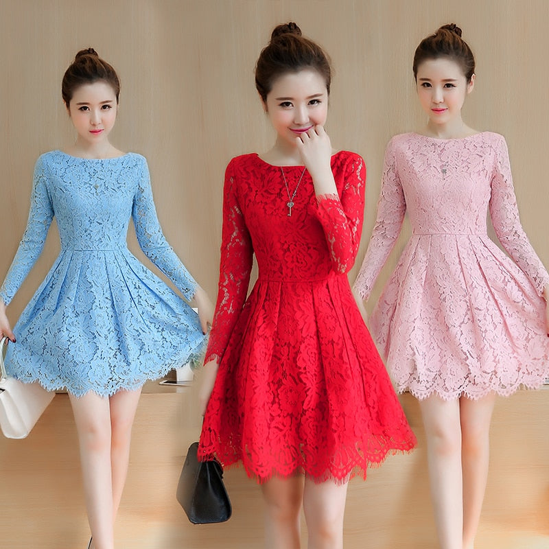 25a34da14bc Hover to zoom · Spring Autumn Lace Dress 2018 New Korean Fashion Mini  Vestidos Women Long Sleeve Temperament ...