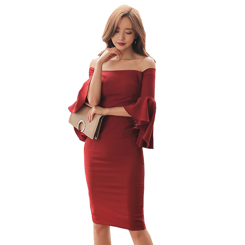 f10776b27c69 Hover to zoom · Spring Autumn Women Bardot Dress Pin Up Red Ruffle Frill Sleeve  Off The Shoulder Bodycon Knee