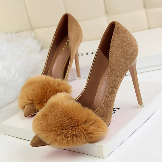 Spring Autumn Women Shoes Pointed Toe Pumps 10.5CM Thin Heels Wedding Dress Flock fashion Sexy Rabbit hair High Heels Boat Shoes