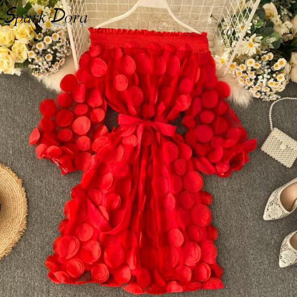Spring Elegant Dress Fashion Dimensional Three Quarter Bubble Sleeve Flower Closing Waist Slash Neck Vestidos Lace Bandage Dress