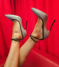 Spring Fashion Light Gray Leather Women Pointy Toe Pumps Thin Ankle Buckles Ladies Blade Heel Shoes Sexy Party Shoes Stiletto