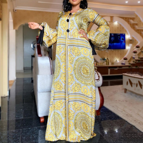 Spring Long Sleeve Maxi Dress African Ladies Rich Bazin Golden Print Vintage Plus Size 3XL Floor Length Women Party Long Dress