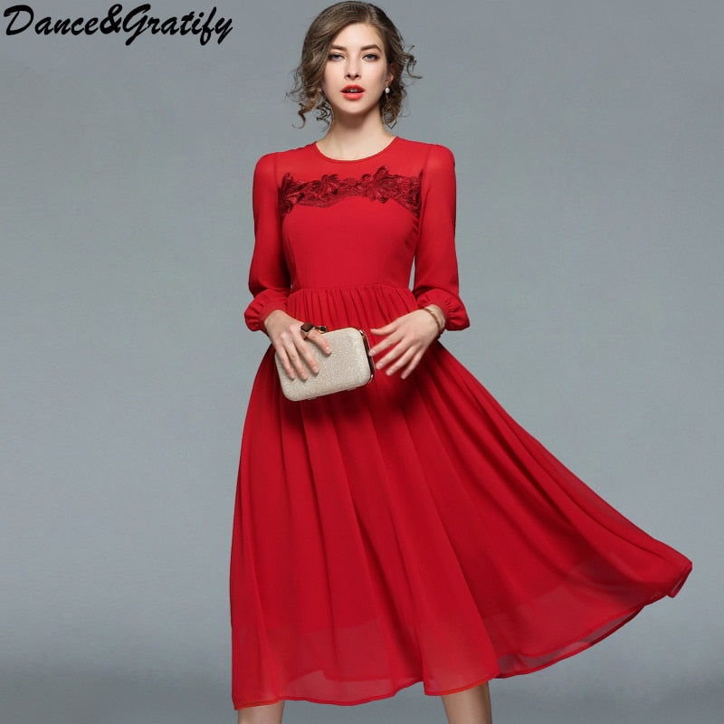 2547099f91fc Spring New Women s Embroidery Floral Red Chiffon Dresses Long Sleeve  Vintage Fashion Slim Casual Office Party ...