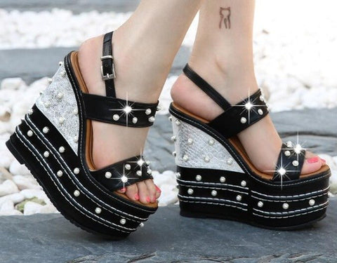 Spring Summer Newest 16cm Heels Sexy Sandal Woman Open Toe Platform Buckle Strap Gladiator Shoe White Pearls Beaded Cutouts Heel